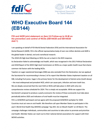 WHO EB144 - FDI statement on Item 5.8 NCDs