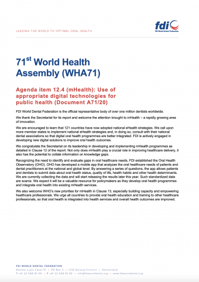 WHA71 - Use of appropriate digital technologies for public health